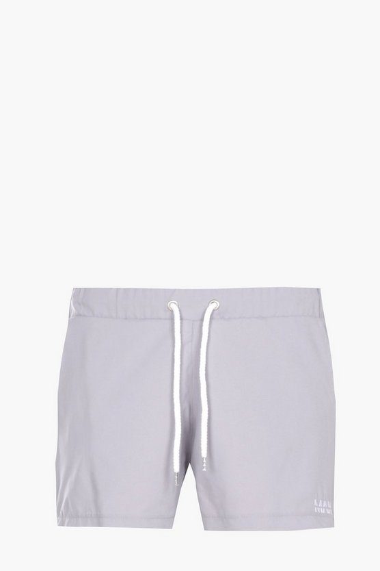 Plain Swim Shorts With MAN Embroidery