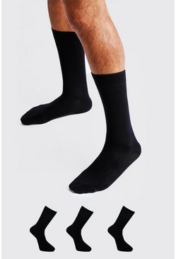 3 Pack Plain Cotton Socks, Black, HOMBRE