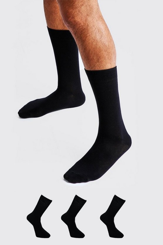 3 Pack Plain Cotton Socks