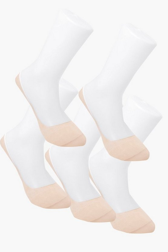 Mens 5 Pack Invisible Nude Socks With Grips