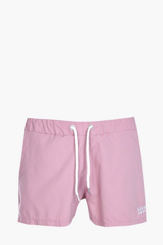 Short Plain Swim Short With Embroidery