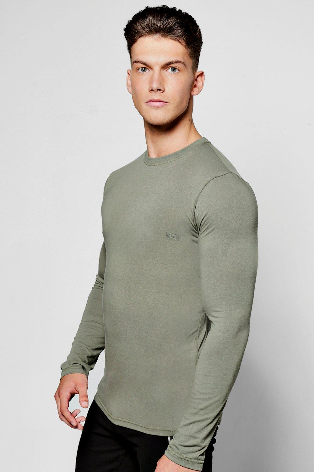 e7c9965d Mens Khaki Long Sleeve Muscle Fit T Shirt With MAN Logo. Hover to zoom