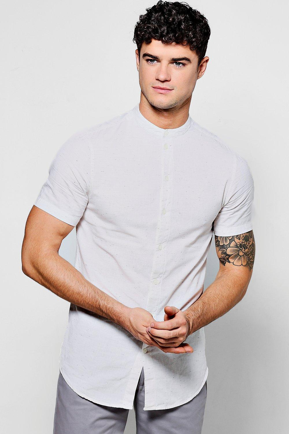 0d1a685fc99547 Mens Stone Short Sleeve Nepp Shirt With Grandad Collar. Hover to zoom. Close  video