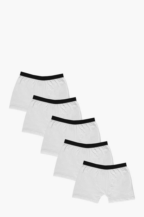 5 Pack Plain White Trunks