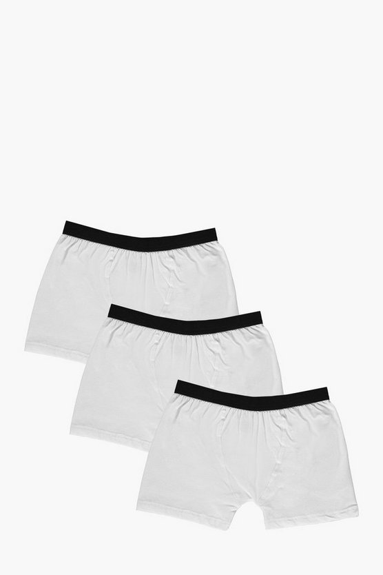 3 Pack Plain White Trunks