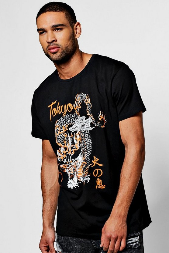 Oversized Dragon Print T Shirt