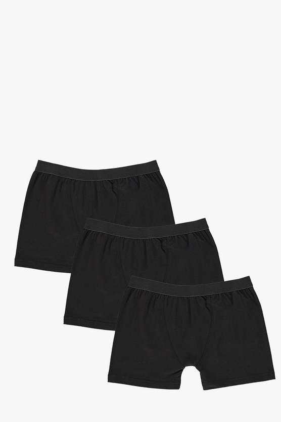 3 Pack Plain Black Trunks