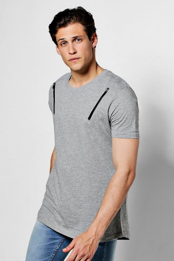 Longline T Shirt With Zips And Curve Hem