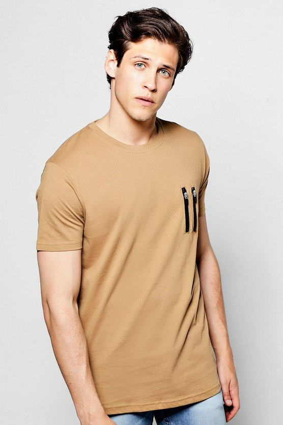 Longline Zip Detail T Shirt With Scoop Hem