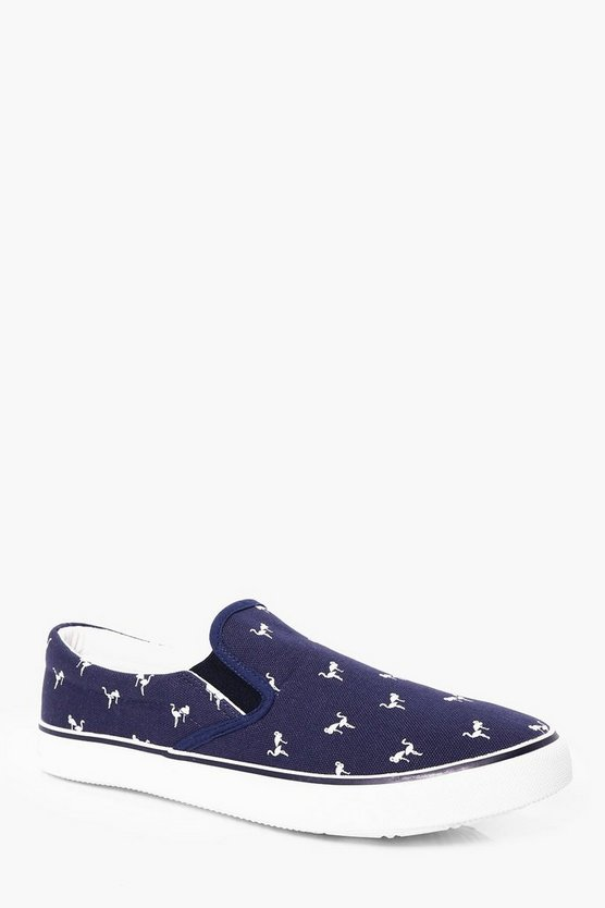 Flamingo Print Canvas Slip Ons