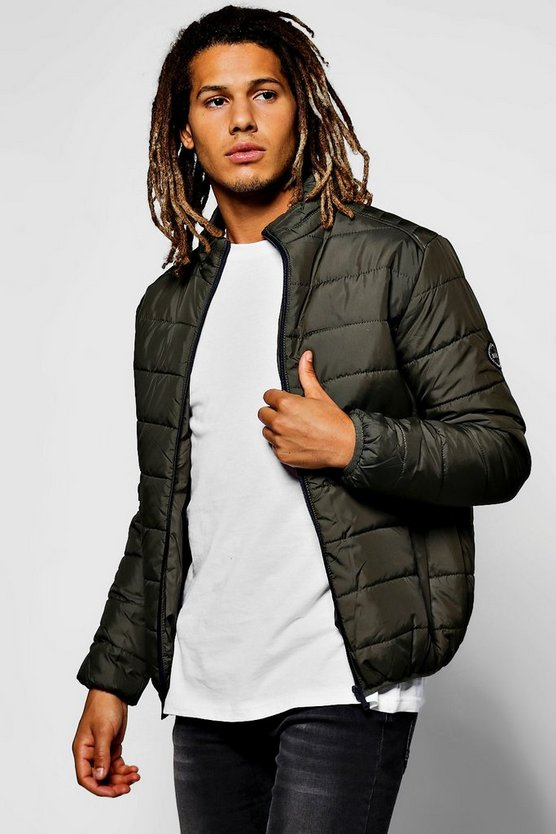 Mens Khaki Zip Through Funnel Neck Quilted Jacket