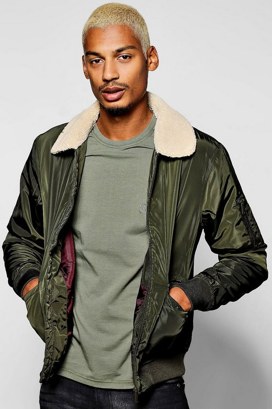 Borg Collar Harrington Jacket With Patch Pockets