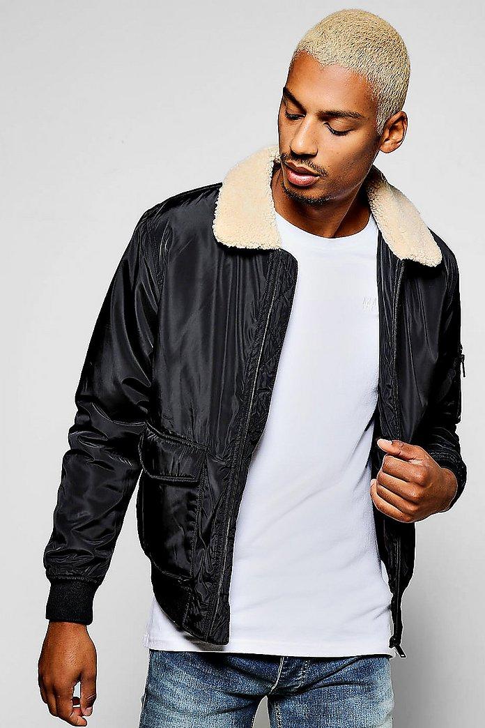 Borg Collar Harrington Jacket With Patch Pockets - boohooMAN