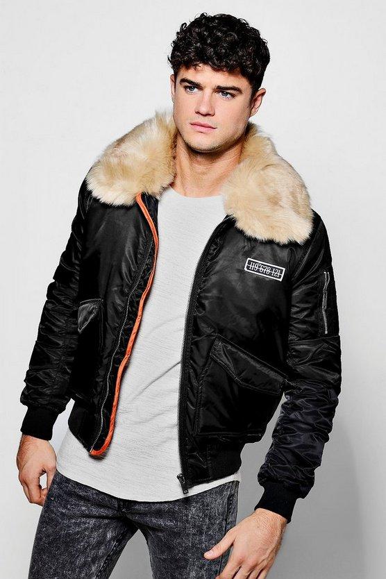 Faux Fur Collar MA1 Bomber Jacket