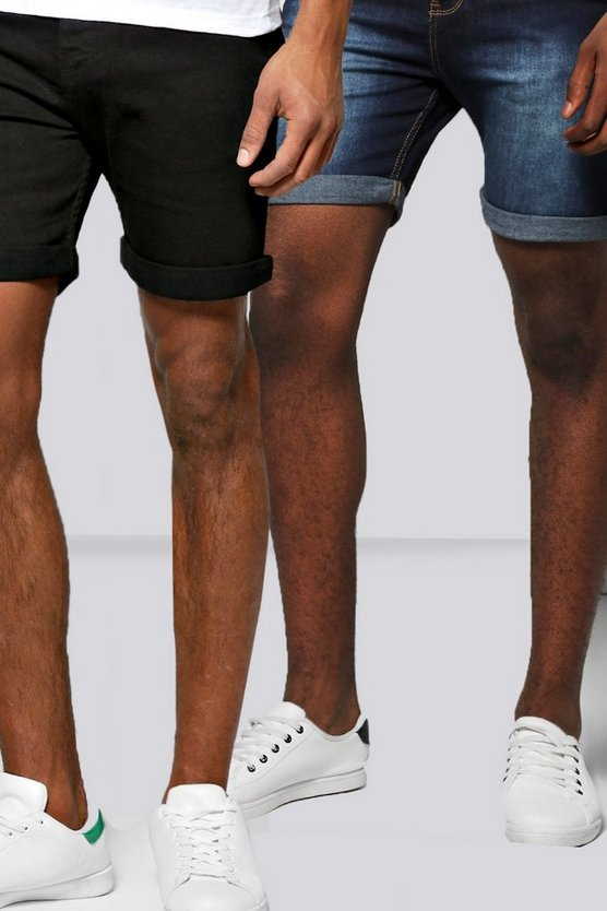 2 Pack Skinny Fit Denim Shorts In Mid Length