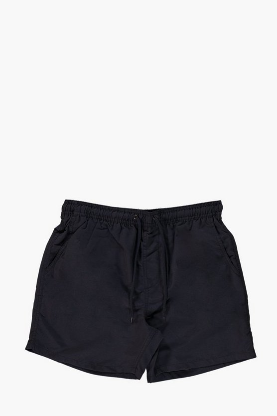 Navy Short Length Plain Swim Shorts