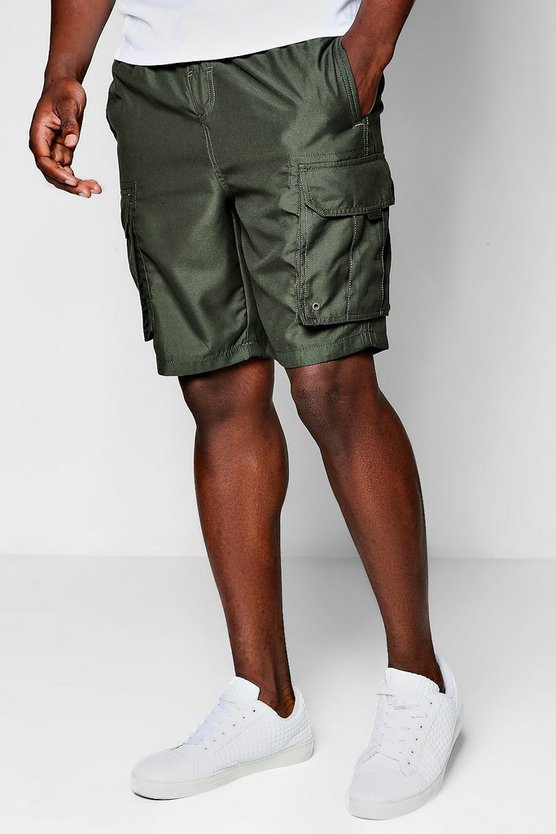 Long Length Khaki Cargo Board Shorts