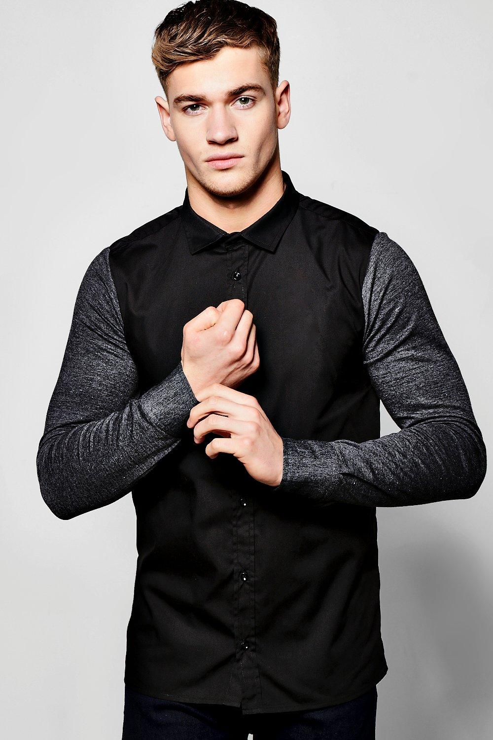 e6c870033d375c Contrast Jersey Sleeve Shirt. Hover to zoom