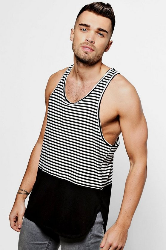 Racer Back Vest With Contrast Curve Hem