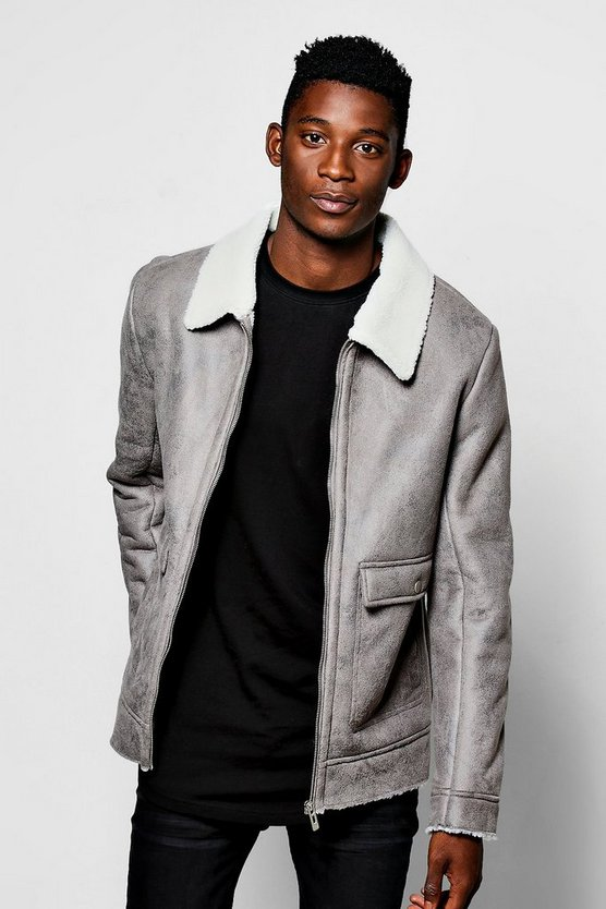 Mens Grey Faux Suede Jacket With Borg Collar