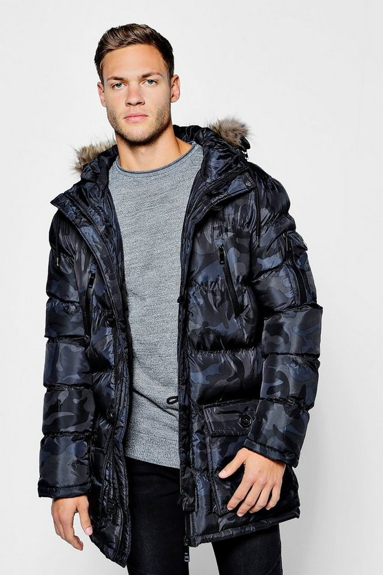Camo Padded Parka With Faux Fur Hood