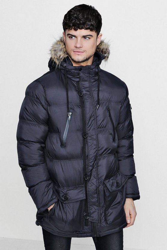 Quilted Parka Jacket With Faux Fur Hood