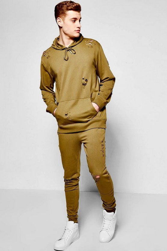 Oversized Destroyed Hooded Tracksuit