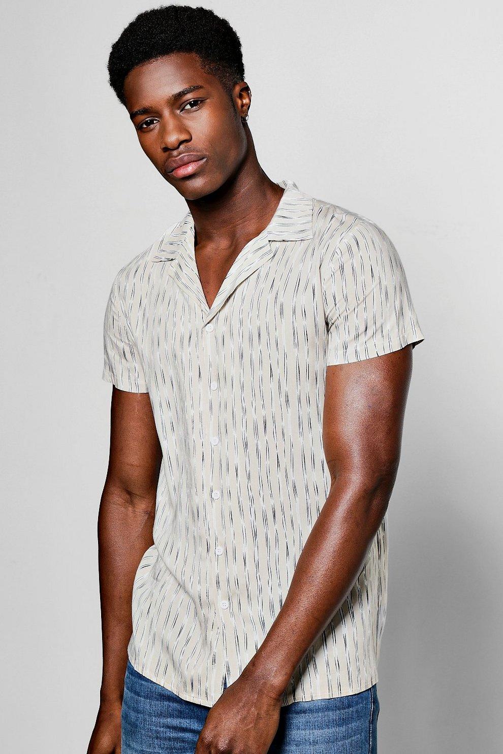 00ee399209 Revere Collar Stripe Shirt | Boohoo