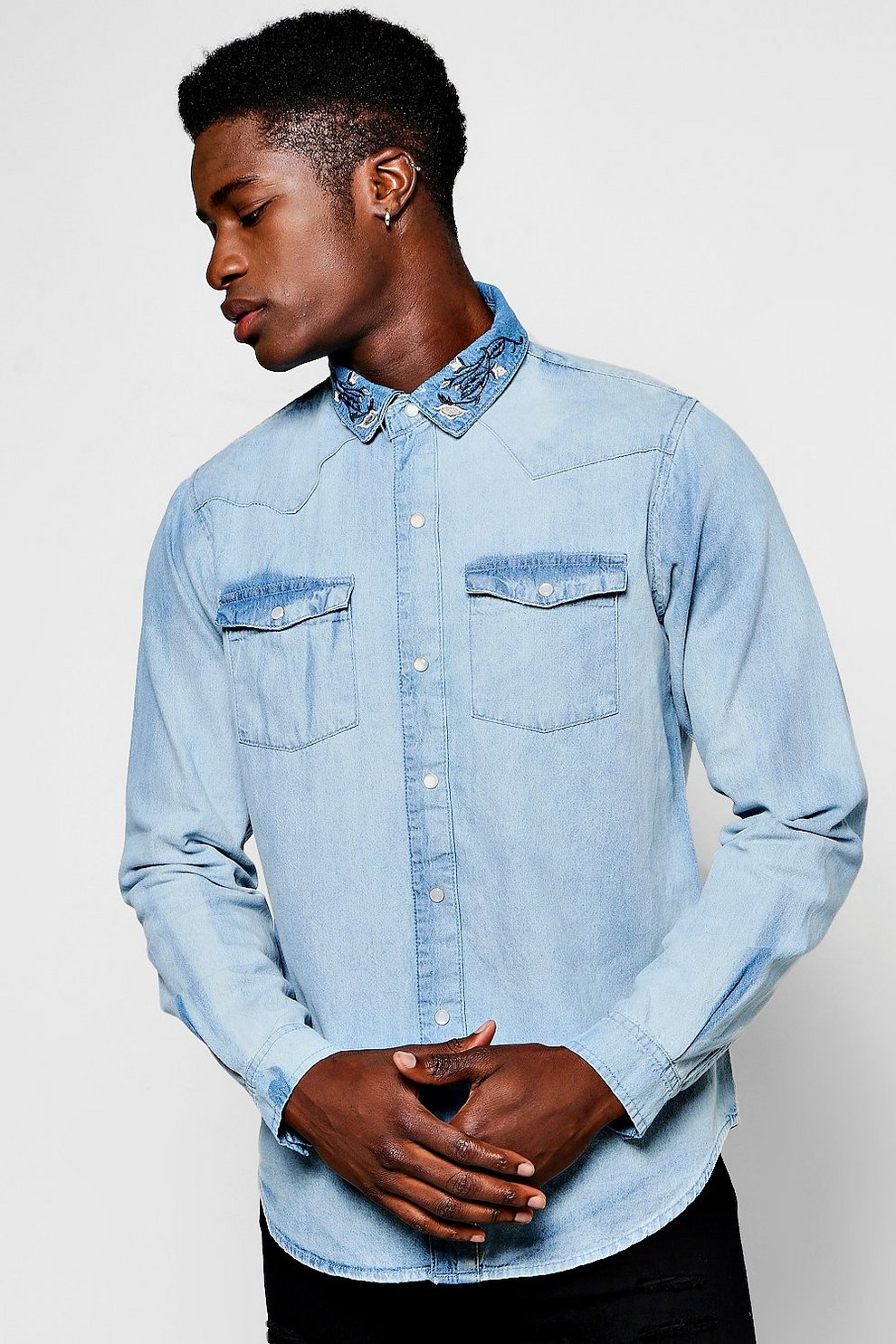Long Sleeve Denim Shirt With Embroidered Collar Boohoo