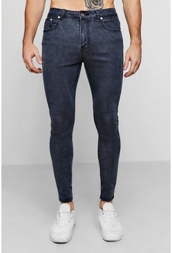 Mens Grey Spray On Skinny Jeans