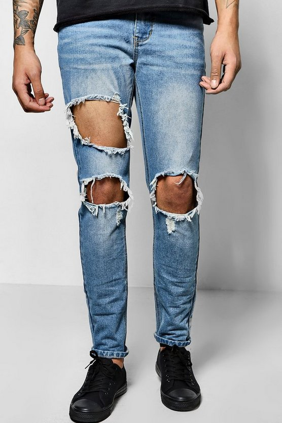 Skinny Fit Rigid Jeans With Open Rips