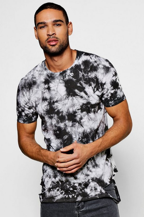 Snow Wash T Shirt With Distressed Hem