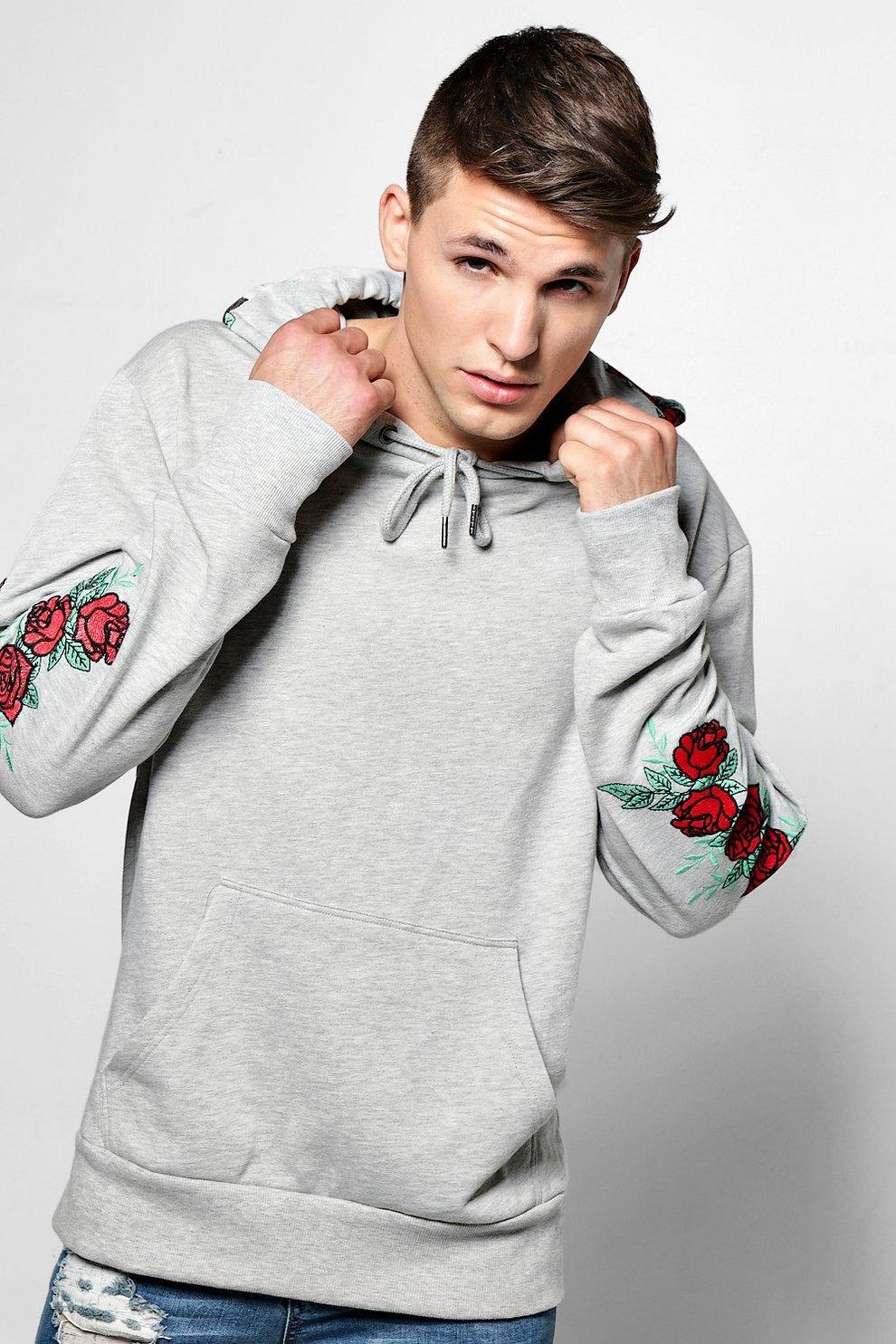 Sudadera con capucha y bordado de rosas  4f5d24d449d0