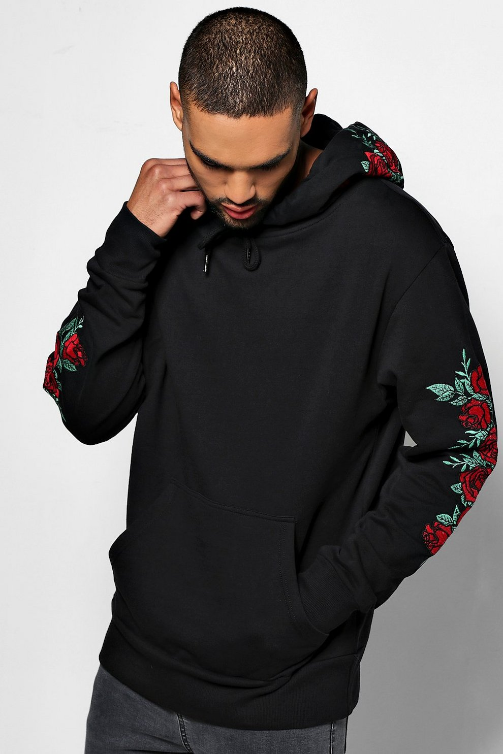 Over The Head Rose Hoodie Boohooman Embroided RqnPEnxwzv