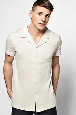 1930s Style Mens Shirts Jersey Revere Collar Short Sleeve Shirt $23.00 AT vintagedancer.com