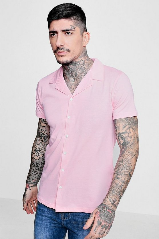 Mens Pink Jersey Revere Collar Short Sleeve Shirt
