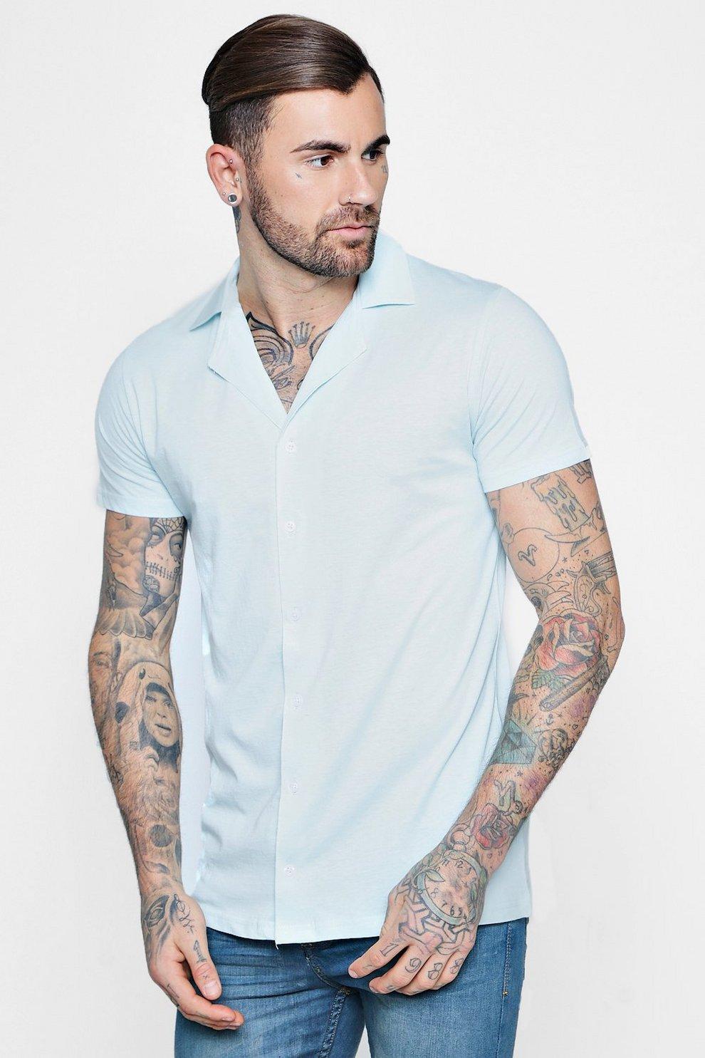 c3a85bd74ea617 Jersey Revere Collar Short Sleeve Shirt