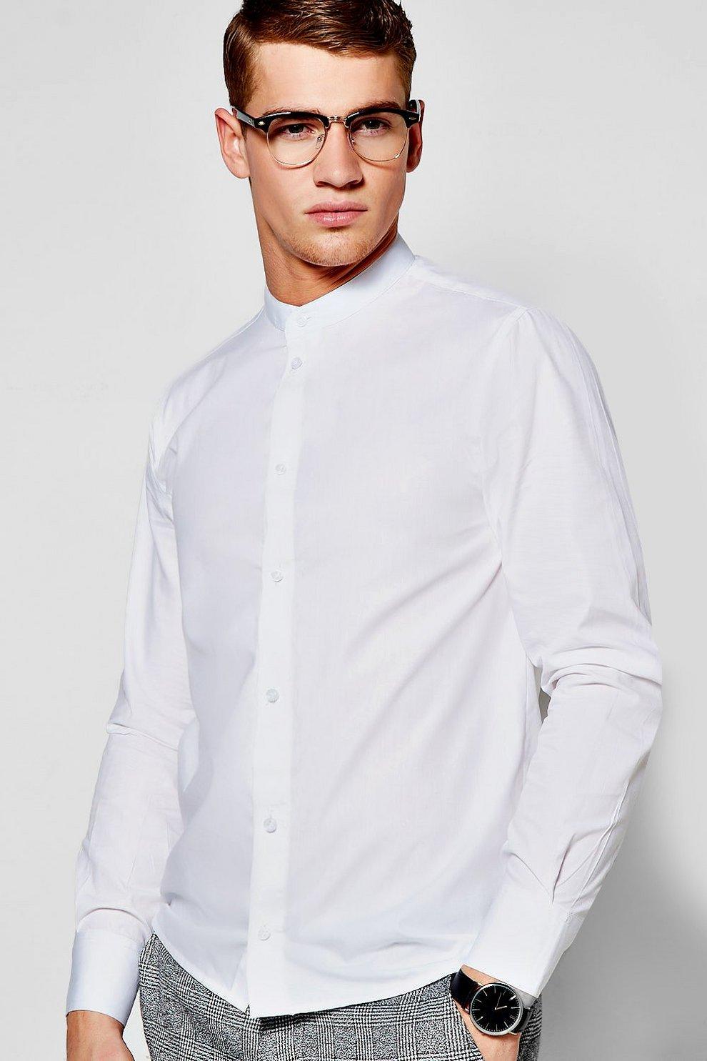 0b9c0490d51cbb Mens White Slim Fit Long Sleeve Grandad Collar Shirt