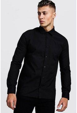 Herr Black Slim Fit Long Sleeve Smart Shirt