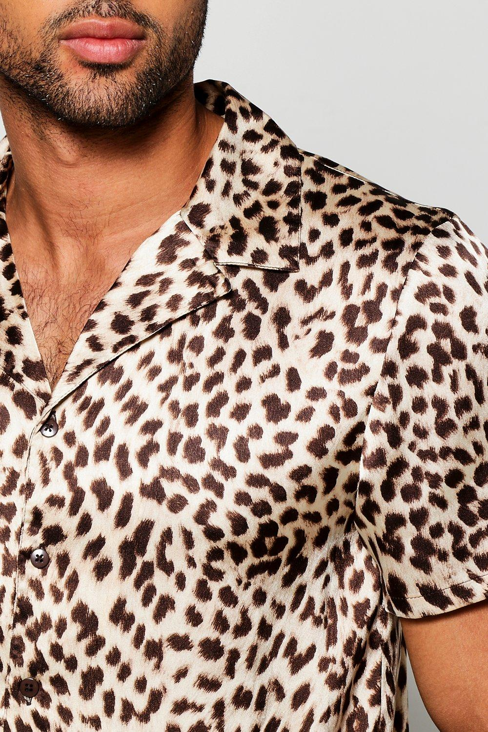 394f9911c27d8 Short Sleeve Leopard Print Revere Collar Shirt. Hover to zoom. Close video