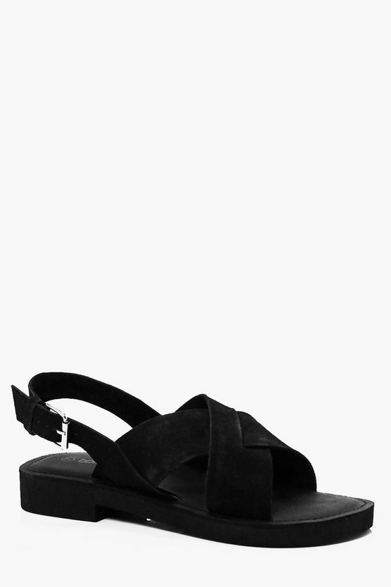 Real Leather Heel Buckle Sandles