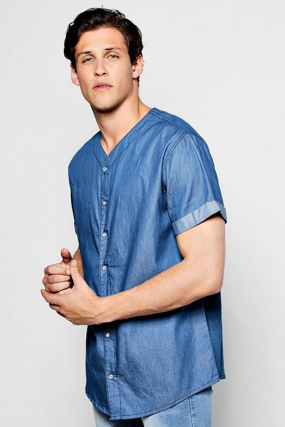Denim Chambray Baseball Shirt