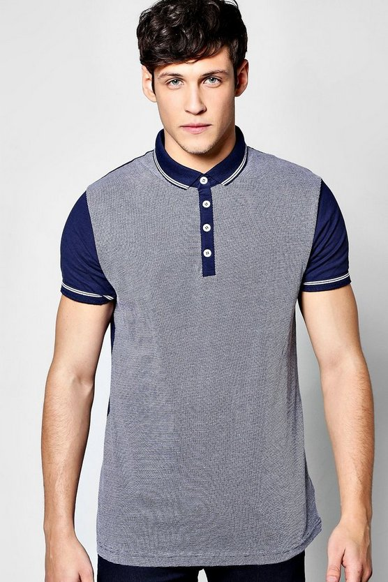 Jersey Polo With Jacquard Front