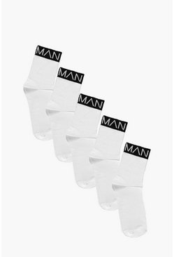 Herr White 5 Pack MAN Branded Sports Socks With Black Band