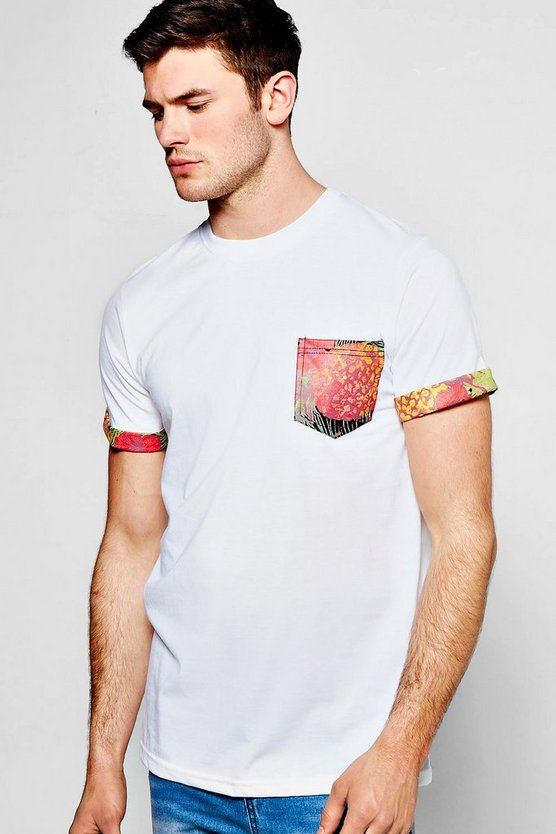 Pocket T Shirt With Print Turn Up
