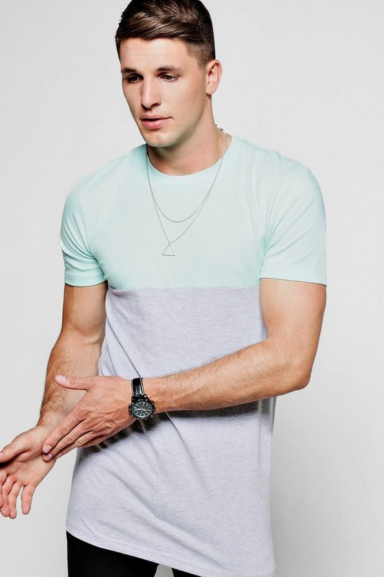 Longline Muscle Fit Half And Half T-Shirt