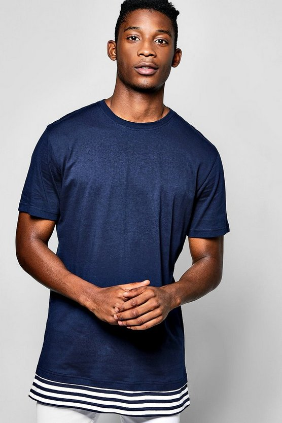 Longline T-Shirt With Extended Stripe Hem