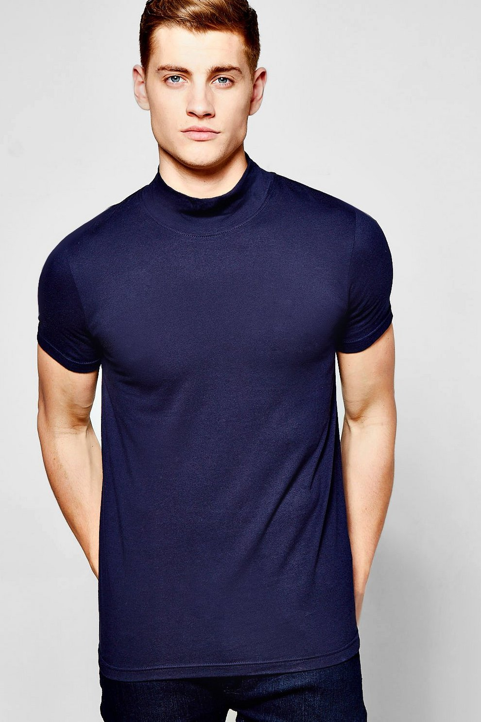 a994740f Short Sleeve Muscle Fit Turtle Neck T-Shirt | Boohoo