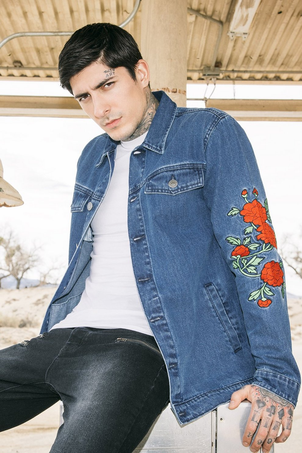2a83612b4897a Floral Embroidered Denim Jacket