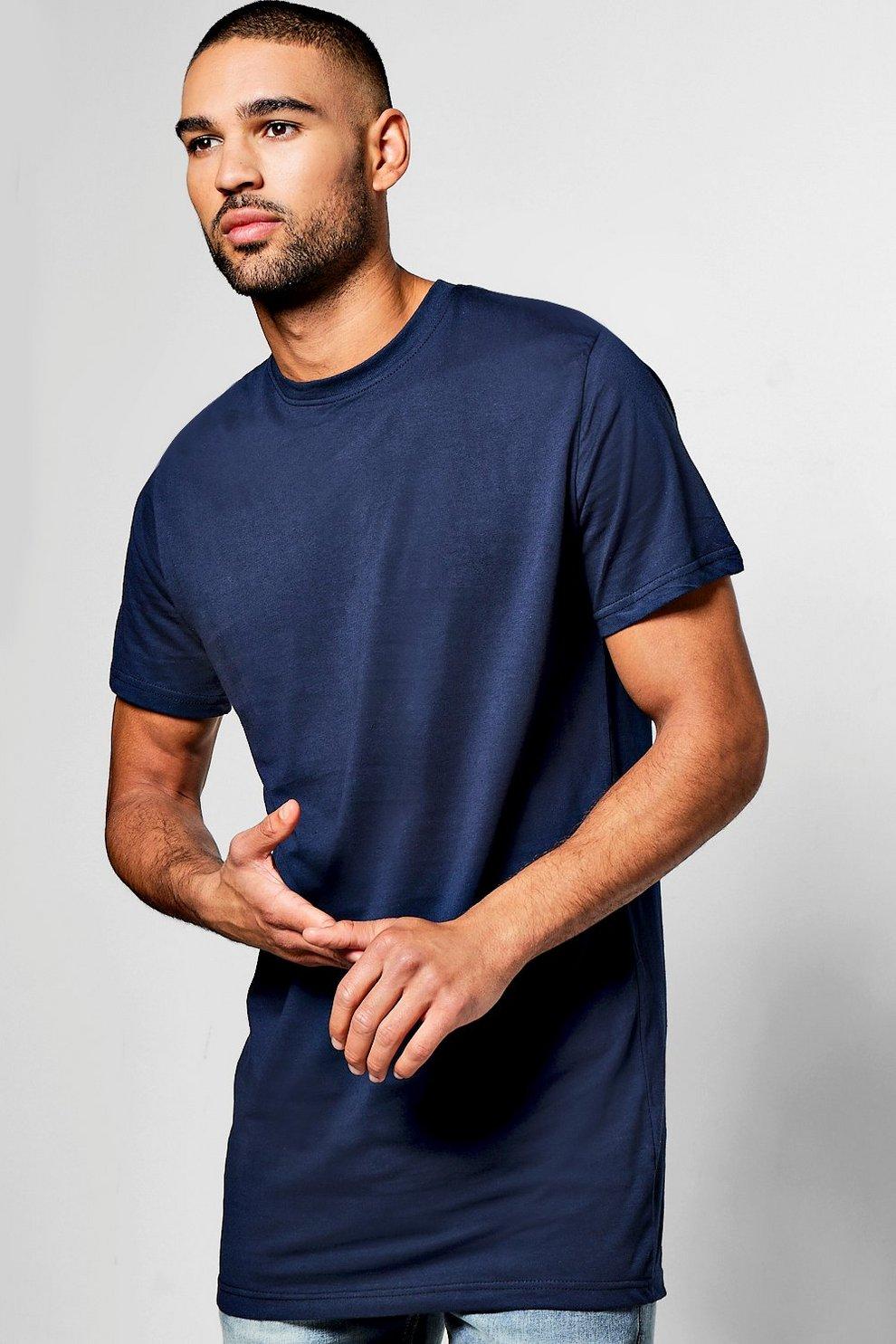 cde9eb8737fe5 t-shirt très long, Marine, Homme